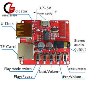 Micro USB Mini Bluetooth 4.1 MP3 Player TF SD Card Lossless Decoder Board 3.7-5V