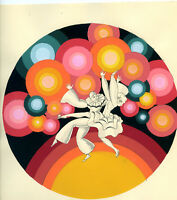 1930s French Pochoir Artdeco Print Signed VIC Psychedelic Colors Harlequin (L)