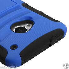 HTC One (M7) Hybrid AA Armor Case Skin Cover w/ Kickstand Blue Black