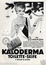 Kaloderma Seife XL Reklame 1927 Jupp Wiertz Weihnachten Dame Perlenkette Kette