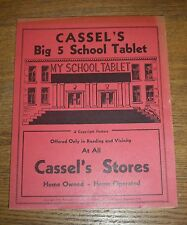 1939 Unused New Old Stock Advertising School Tablet - Cassel's Stores Reading PA