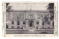 Iowa postcard Cedar Rapids Free Public Library undivided back 1907