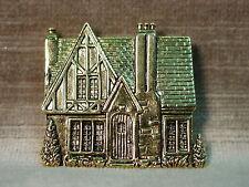 """JJ"" Jonette Jewelry Bright Antique Gold Pewter 'TUDOR Cottage House' Pin"