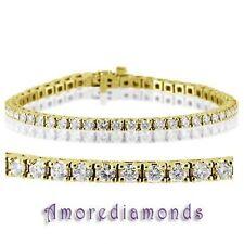 "4.48 ct F VS2 round ideal cut diamond 4 prong tennis bracelet 14k yellow gold 7"""