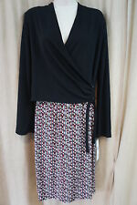 "Nine West Dress Sz 2 Black Multi Color ""Wild Child"" Wrap Casual Business Attire"