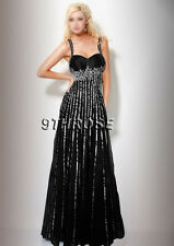 STEP OUT IN STYLE! BLACK BEADED FORMAL/EVENING/PROM DRESS; WHITE STRIPE AU8/US6