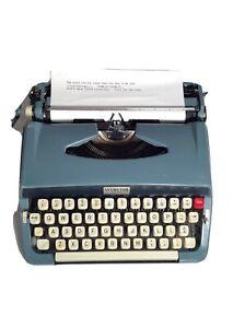 Vintage 1967 Webster Portable Blue W/White Keys Typewriter Very Nice - Japan