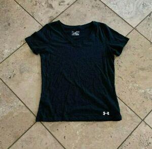 Women's Under Armour Solid Dark Gray Short Sleeve V-Neck T-Shirt Size M