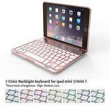[For iPad Mini 1/2/3]Aluminum Case Bluetooth Keyboard 7 Color Backlit(Rose Gold)