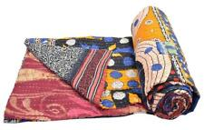Vintage Throw Kantha Quilt Indian Handmade Cotton Bedspread Reversible Bedding