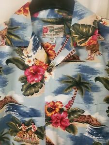 Hilo Hattie Hawaiian Aloha Shirt Made in Hawaii Aloha Hula FREE SHIPPING M NEW