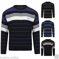 MENS KNITTED STRIPE CREW NECK SWEATER WINTER BOYS JUMPER CARDIGAN STRETCH TOP