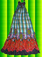 120✪ Hippie Kleid Blumen Karo Indian Spirit Gipsy Maxi 70er Jahre Boho Gr S - M