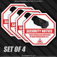 4x Security Camera Surveillance Sticker CCTV System Video Warning Decal Notice