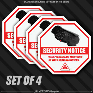 4x Security Camera Surveillance Sticker CCTV System Video Warning Decal Notice