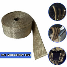 15M Motorcycle Exhaust 900° Insulation Glass Fiber Tape Wrap Fixed Thermal Strip
