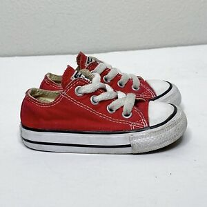 Converse Chuck Taylor All Star Low Top Canvas Sneaker Shoes Red Unisex Toddler 5