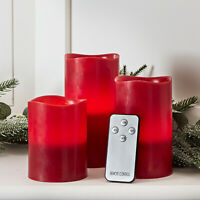 Set of 3 Red Wax Battery Operated Flickering Flameless LED Xmas Pillar Candles