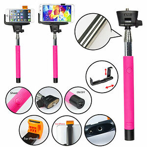 PINK  MONOPOD SELFIE STICK WITH BUILT-IN BLUETOOTH REMOTE  MOBILE iPHONE SAMSUNG