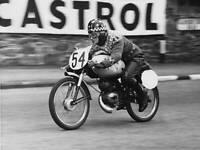 OLD LARGE PHOTO, Beryl Swain on her Itom 50cc motorcycle Isle of Man TT 1962 1