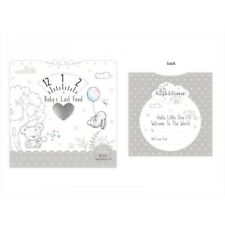 New Baby Congratulations Card Baby Last Feed Tracker Newborn Unisex Grey Design