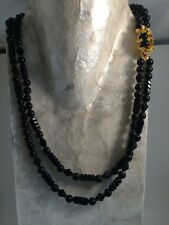Vintage Signed Art Black Bead Double Strand Necklace Fancy Clasp