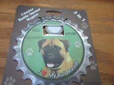 E&S Pets I Love My Bull Mastiff 3 in 1 Bottle Opener Coaster Magnet New
