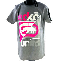 Ecko Unltd Big Logo Graphic T Shirt Mens Sz M Medium Heather Gray Pink White NEW
