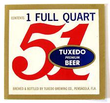 Tuxedo Brewing Co -  51 - TUXEDO PREMIUM BEER label FLA - 1 FULL QUART