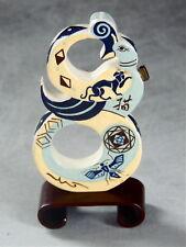 "Mariko Swisher contemporary original ceramic ""snuff bottle"" of a bird and cats"