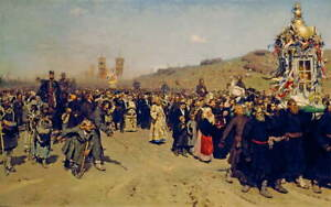 Ilya Repin Religious Procession in Kursk Gubernia Giclee Paper Print Poster