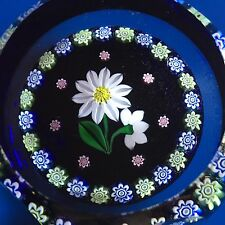 """Perthshire """"Daisies"""" White Daisy with Buds w Millefiori Cane Garland 1995D Box"""