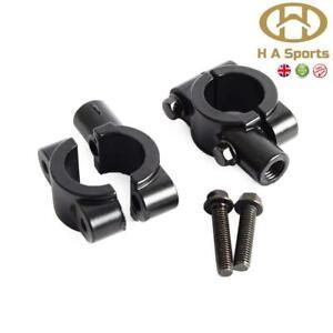 "X2 Motorcycle Motorbike 10mm 7-8"" Handlebar Mirror Adaptor Clamp Mount Brackets"
