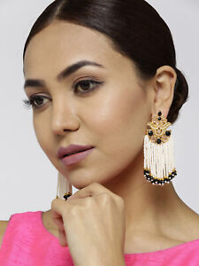 Ethnic Indian Bollywood Gold Tone Pearl Black Long Earrings Wedding Wear Jewelry