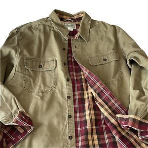LL Bean Flannel Lined Mens Shirt Sz L Large (r612)