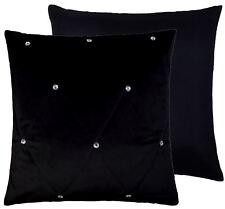 2x GUATEADO Diamante Transparente terciopelo negro 45.7cm-45cm Fundas Cojín