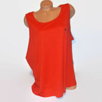Attention Women Tank Top Dark Orange Solid Sleeveless Shirt