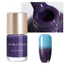 9ml NICOLE DIARY Glitter Color Changing Thermal Nail Polish Water-based Varnish