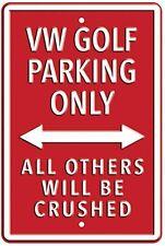 VOLKSWAGEN Golf Parcheggio solo Rosso pesi massimi metallo segno 45cm x 30cm (RH) ridotta