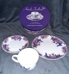 Angela Faulkner 2010 Fine Bone China Cup, Saucer & Plate - CP071 Grey Butterfly
