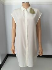 AllSaints Giovia New Cream 100% Silk Shirt Dress Blouse Size 40 Uk 12 £138