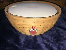 Longaberger Round Basket W Serving Solutions Plastic Insert And Lid Heart Tie On