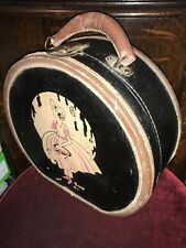Antique Doll Case Travel Case Suitcase Leather Trim & Handle