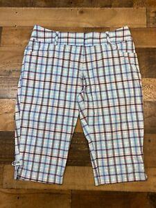 Adidas Womens Blue Plaid Climalite Golf Capri Cropped Pants Size 10 Lightweight