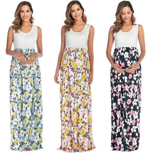 Pregnant Womens Maxi Dress Maternity Summer Casual Party Floral Long Sundress