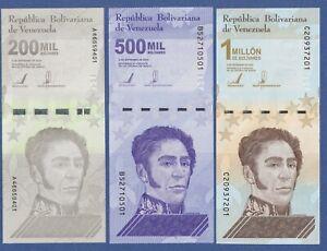 Venezuela Set of 3 Notes - 200000 500000 1 Million Bolivares 2020/2021 P-New UNC
