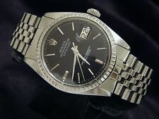 Rolex Datejust Mens Stainless Steel Watch with Black Dial and Jubilee Band 1603