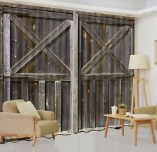 2 Panels Old Barn Door Scenery 3D Window Fabric Curtain Darkening Blockout
