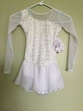 Icings New  LONG SLEEVE WHITE LACE COMPETITION ICE  SKATING DANCE BATON DRESS CM