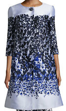 St. John Collection Blue Jasmine Floral 3/4-Sleeve Topper, White/Navy, Size 2